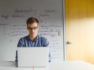 Entrepreneur on laptop